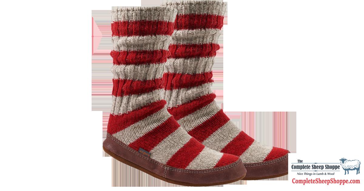 Acorn Slipper Sock Red Stripe | Complete Sheep Shoppe